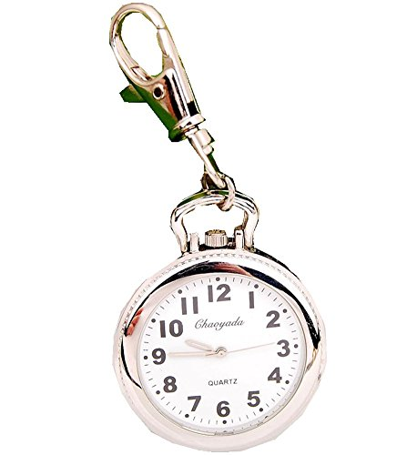 New Big Round Easy to Read time Key Ring Keychain Pocket Watch Gift (No Luminous)