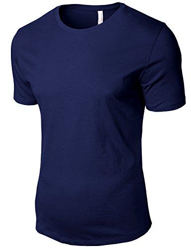 Tonyclo Men's Cotton Basic Simple Round Neck Classic Soft Tee Shirts