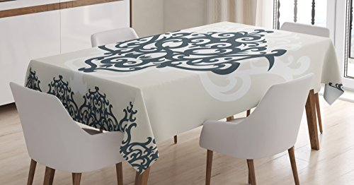 Ambesonne Arabesque Tablecloth by, Middle Eastern Islamic Motif with Arabic Effects Filigree Swirled Artsy Print, Dining Room Kitchen Rectangular Table Cover, 52W X 70L Inches, Pearl Grey by Ambesonne