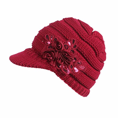 Women Ladies Winter Knitting Hat Warm Artificial Wool Snow Ski Caps With Visor (Red) (Cake Red Topper Sox)