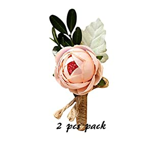 Florashop 2 pcs Package Satin Peony Buds Men's Boutonniere Groom Boutonniere Bridegroom Boutonniere Pin for Wedding Prom Party (Champagne Boutonniere) 44