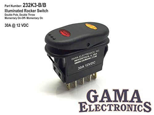 GAMA Electronics Waterproof Illuminated Double Pole, Double Throw 3 Position Momentary On-Off-Momentary On Rocker Switch DPDT