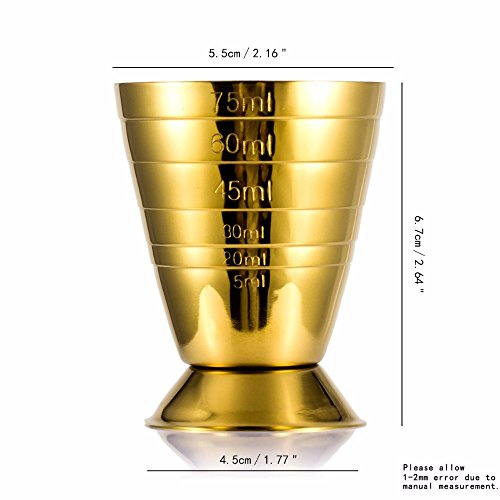Emousport Bar Cocktail Jigger Three Scales Coffee Measuring Jigger Wine Cup Stainless Steel Practical Measure Jigger Bar Tool Party Supply (gold) by Emousport (Image #1)