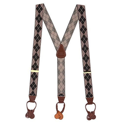 H. A. Sheldon Mens Brown Argyle Button Suspenders