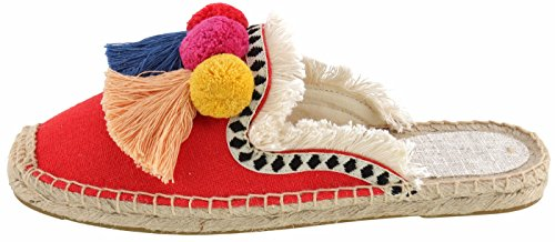 U-lite Women's Frayed Red Tassel Pom pom Embroidered Canvas Mule Shoes Espadrilles Flats 10 by U-lite (Image #4)