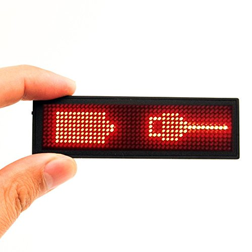 SOCW Red LED Name Tag, Reuseable Price Tag Rechargeable LED Business Card Screen with 44x11 Pixels USB Programming Digital Sign Temperature Display for Restaurant Shop Exhibition Nightclub Hotel Digital Sign