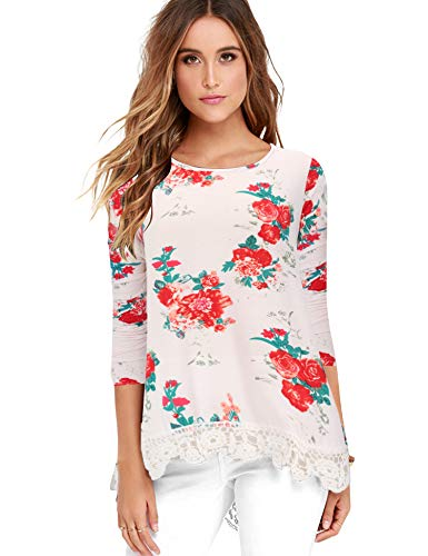 FISOUL Tops Long Sleeve Lace Trim O-Neck A-Line Floral Printed Tunic Tops XXL White