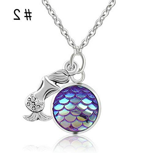 Hebel Fashion Mermaid Fish Scale Pendant Rainbow Holographic Sequins Charm Necklace JT | Model NCKLCS - 34025 |