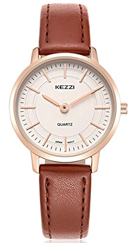 Wutan Womens Watches Brown Leather Strap Brown Dial Gold-Tone Stainless Steel Case Sports Casual Classic Watch Analog Quartz Fasion Waterproof Two Needle Wristwatches