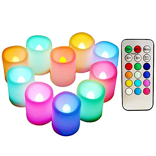 Multi Color Changing Votive Flameless Candles with Remote and Timer - 100+ Hours Long Battery Operated Led Tea Light Candles,10 Pcs Colored Flickering Candles for Halloween Gift and Wedding Décor.