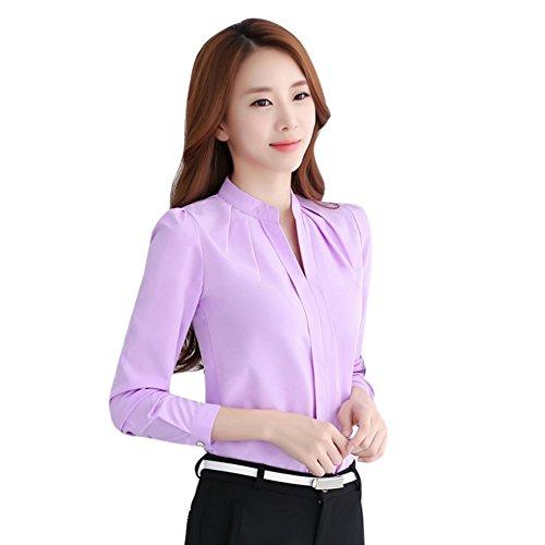 EFINNY Women Office T-Shirt Uniform OL V Neck Henley Blouse Workwear Tops (X-Large, Purple 1) (Top V-neck Henley)
