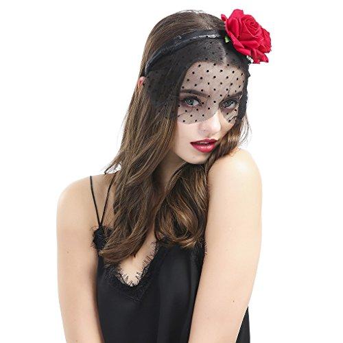 Halloween Avec Pois Cosplay Masque Femme Mascarade Cheveux Motif Dentelle Costume Voile Bandeau Fleur Acmede Party Pour Noir WOIax