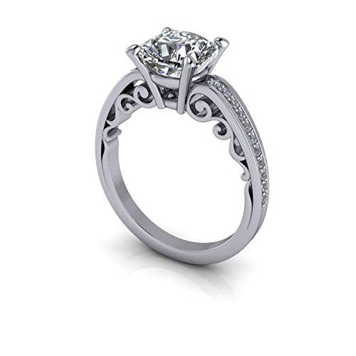 Amazon com: Filigree Engagement Ring Cushion Cut SUPERNOVA