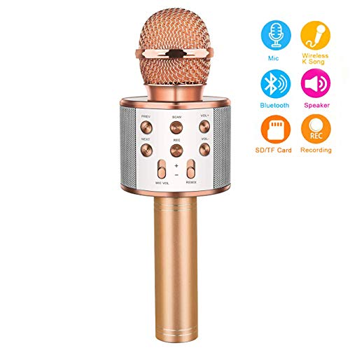 Gifts for 3-15 Year Old Girls, Touber Wireless Karaoke Microphone Bluetooth for Birthday Gifts for 4-12 Year Old Girls Boys for Girls Age 4-12 Christmas Xmas Stocking