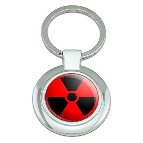Graphics and More Radioactive on Red Classy Round Chrome Plated Metal - Red Radioactive