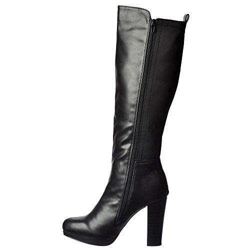 Women's Mid Stretch Boot Heel Onlineshoe The Knee High Over Elasticated Winter Black Knee 4qFwnd