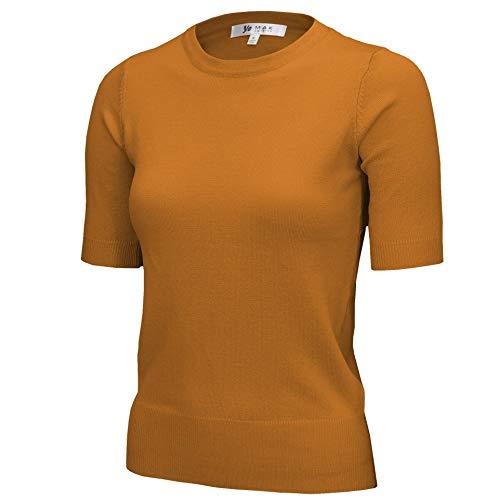 YEMAK Women's Daily 1/2 Sleeve Slim-Fit Pullover Sweater Vintage Inspired,Bronze,Medium ()