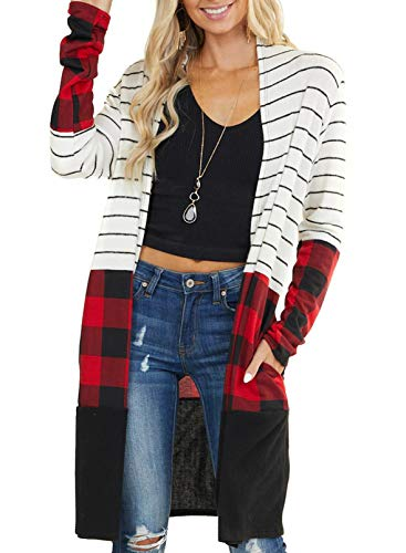 GOSOPIN Women Snap Button Down Open Front Long Knit Ribbed Cardigans Outwear