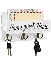 Rustic Key Holder for Wall with Mail Shelf, Decorative Wooden Mail Organizer with 3 Double Key Hooks, Wood Hanging Mail Sorter Wall Mounted