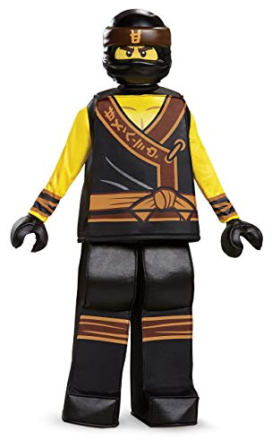 Disguise Cole Lego Ninjago Movie Prestige Costume, Yellow/Black, Medium (7-8) -