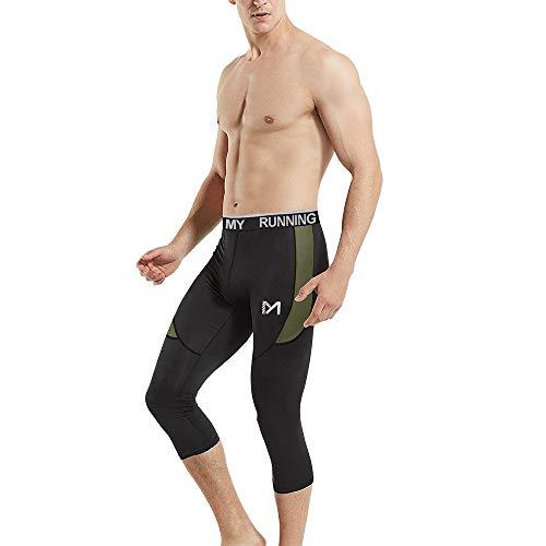 (MEETYOO Men's 3/4 Compression Pants Leggings Tights, Cool Dry Sport Workout HeatGear Capri Base Layer Running Cycling Basketball (Olive, Medium))