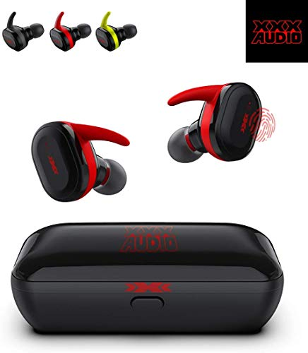 True Wireless Earbuds, Bluetooth 5.0 Headphones, IPX5 Waterproof, HD Stereo Bass Sound, Wireless Earphones with Built in Mic and Portable Charging Case