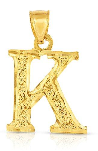 (Floreo 10K Yellow Gold Charm Pendant Letter K Personalized Alphabet Initial Name Monogram for Men)