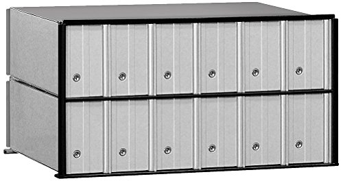 Salsbury Industries 2212 Aluminum Mailbox, 12 Doors, Rack Ladder System, Aluminum with Black Trim
