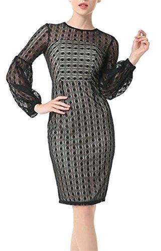 Jaycargogo Neck Fashion Black Lantern Dresses Sleeve Crew Lace Womens See Through trrwqH5Z