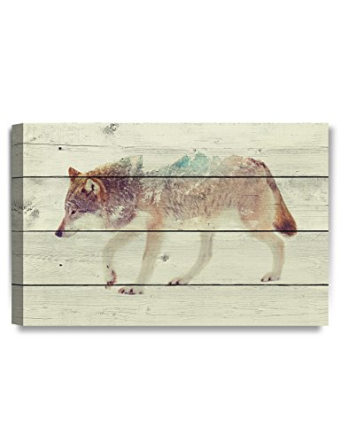 DECORARTS - Canvas Prints Wall Art -The Wolf on Vintage Wooden Background .Giclee Print on Canvas for Wall Decor. 24x16x1.5