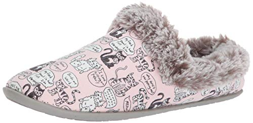 Skechers BOBS Women's Beach Bonfire-Cuddle Quote Me Kitty Slipper Clog w Memory Foam, Light Pink, 7 M US (Slippers For The Beach)