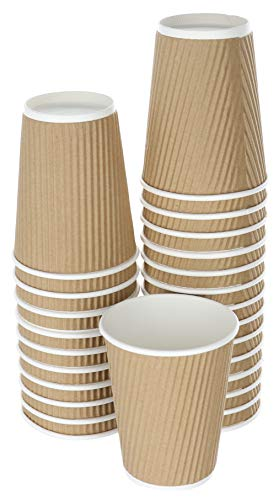 14 Ounce Cappuccino Cup - DISPOSABLE COFFEE CUPS 14 OZ SET OF 25 | DOUBLED WALLED PAPER CUPS FOR HOT BEVERAGES | INSULATED TO GO HOT CUPS