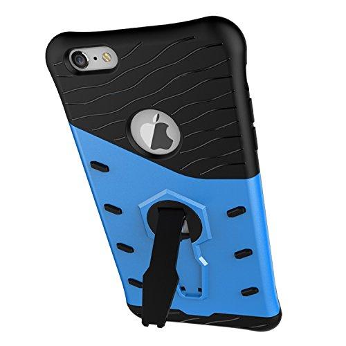 Meimeiwu Stilvolle TPU 2-Schicht-Schutz Durable Fall-Abdeckung mit Kickstand für Iphone 6 Plus 6S Plus,Blau