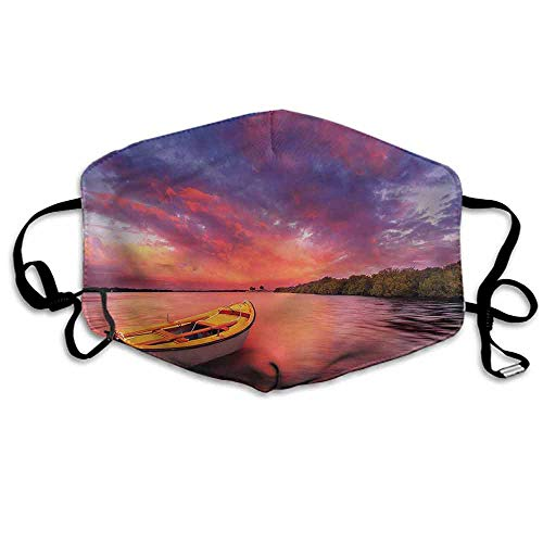 Sunset Fashion Mouth Mask Sea Coast with a Rowboat for Cycling Camping Travel W4