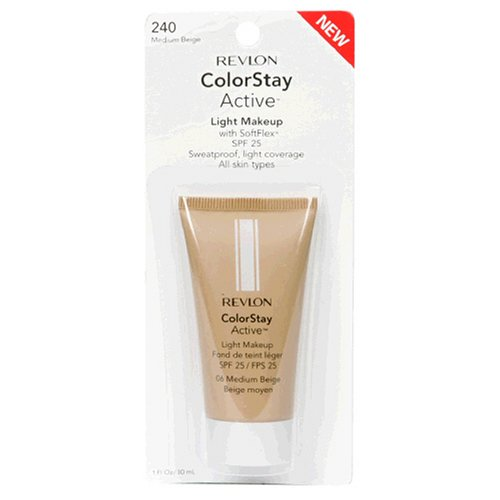 Revlon ColorStay Active Light Makeup with SoftFlex, All Skin Types, Medium Beige 240/06, 1 Ounce