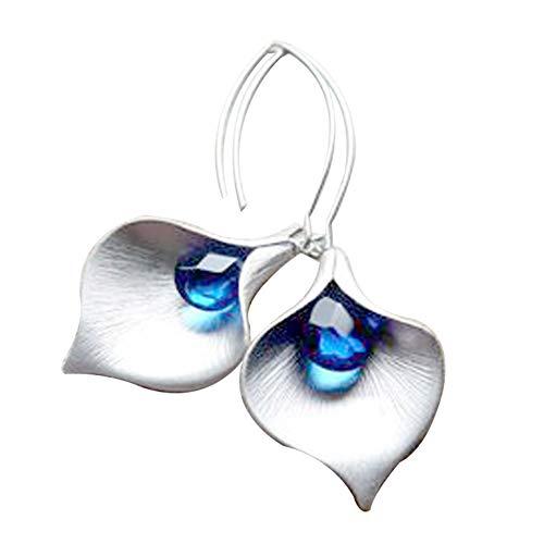 fublousRR5 Women's Dangle Earrings, Girls Orchid Pendant Faux Crystal Inlaid Hook Dangle Earrings Women Earrings Fashion Jewelry Accessory Gifts Silver