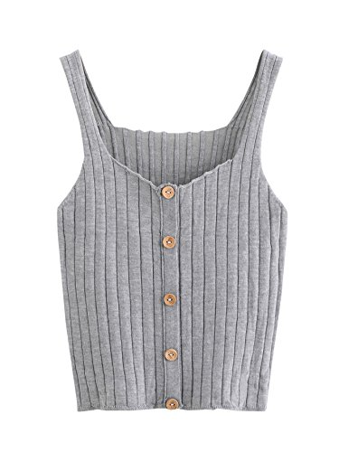 SweatyRocks Women's Sleeveless Vest Button Front Crop Tank Top Ribbed Knit Belly Shirt Grey#1 One Size