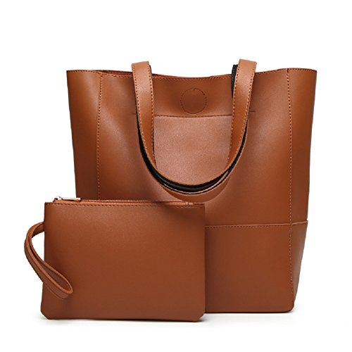 Oudan Bolso elegante del bolso de la mujer del cuero de la vendimia bolso de hombro del viaje de la capacidad grande, la bolsa de asas + la cartera (Color : Marrón, tamaño : Un tamaño) Marrón