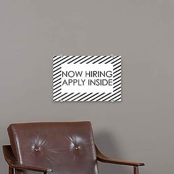 Now Hiring Apply Inside Stripes White Premium Brushed Aluminum Sign CGSignLab 18x12 5-Pack