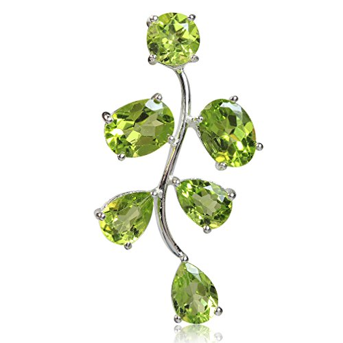 5.86ct. Natural Peridot White Gold Plated 925 Sterling Silver Leaf -