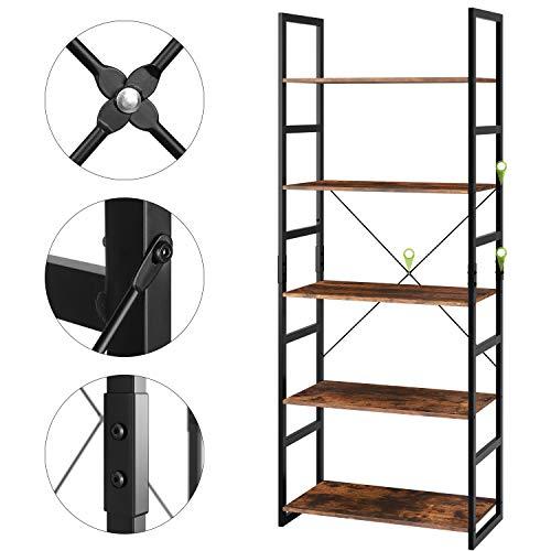 Homfa Bookshelf Rack 5 Tier Vintage Bookcase Shelf Storage Organizer Modern Wood Look Accent Metal Frame Furniture Home Office by Homfa (Image #5)