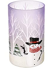 Pavilion Gift Company Hand Painted Snowman Frosted Glass Large Jar Candle Holder Hurricane, 8 Inch