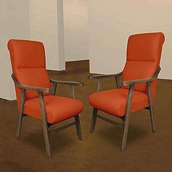SERMAHOME Sillon butaca Boston, Estructura de Madera de Haya Color Nogal. Tapizado en Polipiel Color Naranja. Sillon para Comedor | Silla geriatrica | ...