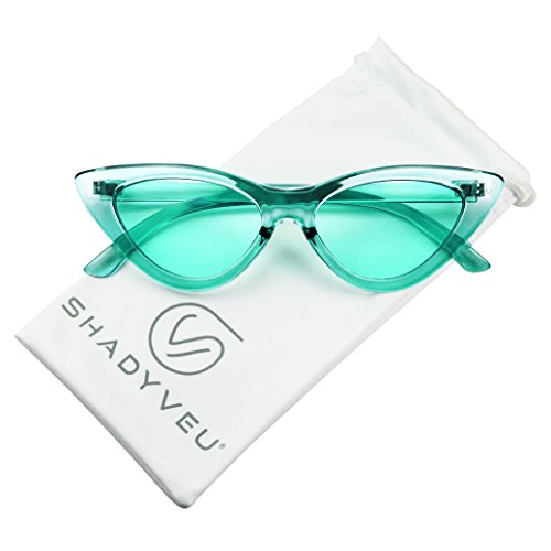 ShadyVEU Women's Retro Exaggerated Slim Candy Color Tint Translucent Cat Eye Sunglasses (Teal, Teal) -