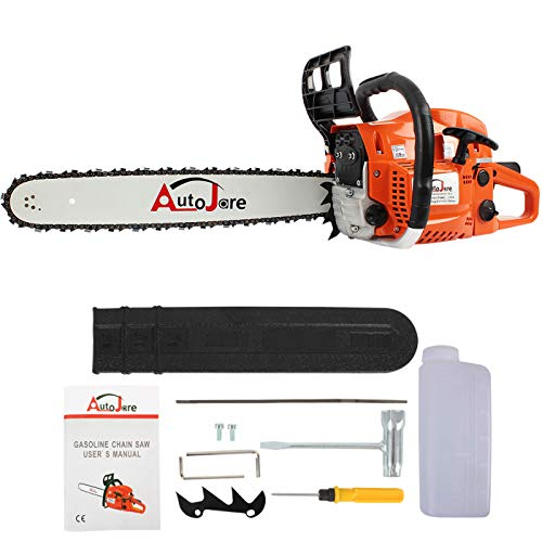 AUTOJARE Gas Chainsaw YJ5202, 20″ Bar, 2 Cycle, 52cc, 2 Stroke, Cordless Chainsaw Cutting Wood