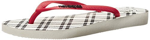 Havaianas Slim Retro Flip Flop Sandal, White/Apache Red, ((11-12 M US Women's / 9-10 M US Men's)