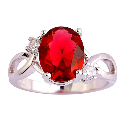 Psiroy Women's 925 Sterling Silver 3cttw Pink Tourmaline July Birthstone Filled Ring (Can Can Sally Child Costume)