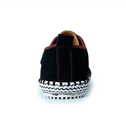 CUSTOME Hombres Ante Cuero Zapatos con Cordones Sneaker Mocasines Ligero Plano Suave Durable Hecho a Mano Antideslizante Zapatos negro