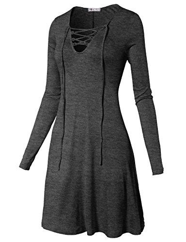 H2H Womens Vintage Drape Lace Up Neck Long Sleeve Tunic Tshirt Dress CHARCOAL US M/Asia M (CWDSD0143) (Rayon Slim Day Dress)