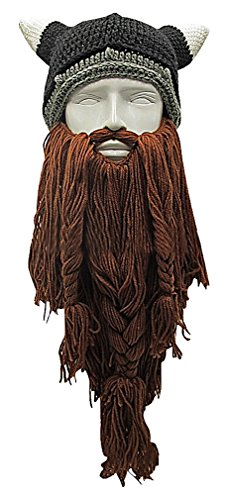 Celino Unisex Playful 4 Color Eclectic Knitted Long Beard Viking Warm Face Mask, CoffeeBeard One - Long Beard Face For